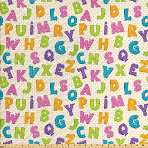 Ambesonne Kids Fabric by The Yard, Cute Funny Letters in Lively Colors Cartoon Style ABC Alphabet on Polka Dots Backdrop, Decorative Fabric for Upholstery and Home Accents, 3 Yards, ()