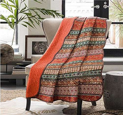 Cozyholy Original Design Coverlets Quilted Blanket 100% Cotton Bed Cover Quilt Throw for Twin/Full Bed, Orange