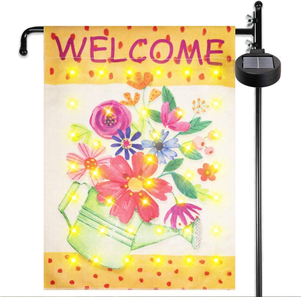KINGXBAR Garden Flag Stand Banner Flagpole with Solar LED String Lights, Waterproof Welcome Flowers Yard Garden Flag Pole with 4 Flash Modes for Outdoor Garden Lawn Home Patio Courtyard