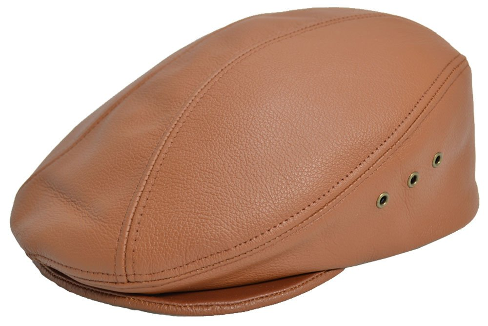 PEBBLED COWHIDE LEATHER FINE IVY DRIVER CAP MADE IN USA VARIOUS COLORS (L/XL (7-1/4 - 7/-3/8), LIGHT BROWN)