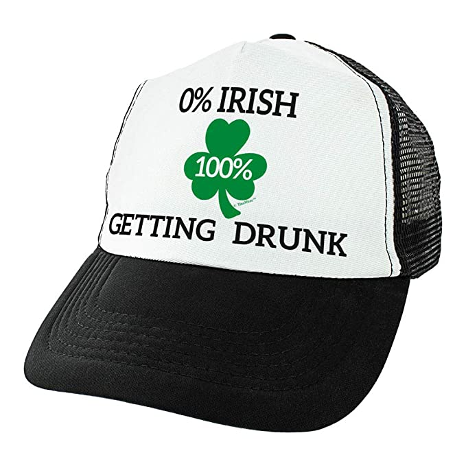 6a3a9c82215 Amazon.com  St Patricks Day Accessories 0% Irish 100% Drunk Hat Shamrock  Hat Irish Beer Drinking Trucker Hat Black  Clothing