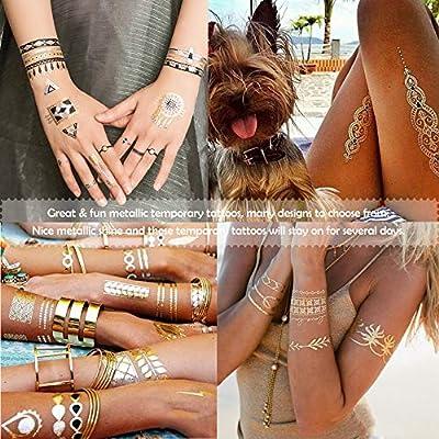 20 hojas de tatuajes temporales metálicos con brillo, sudor e ...