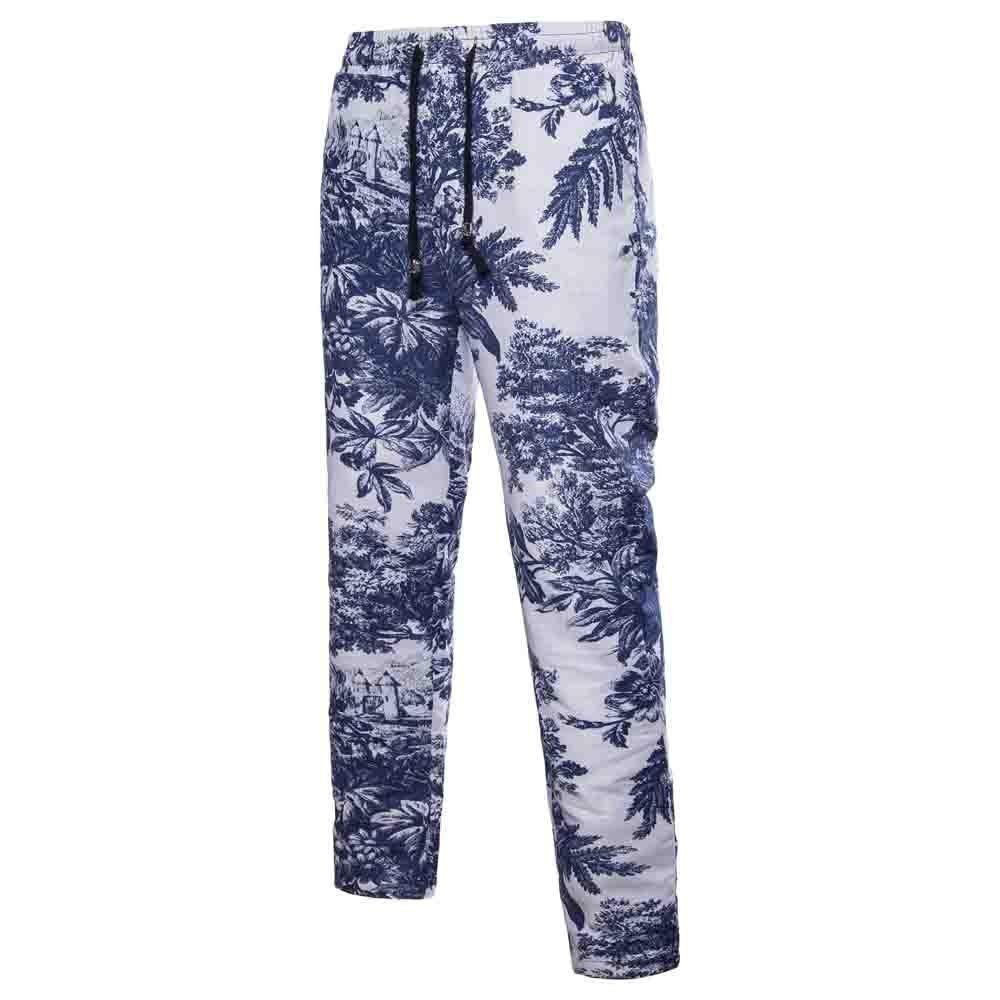 Sunmoot Clearance Sale Floral Print Capri Pants Cotton-Linen Ethnic Patchwork Harem Pant Drawstring Baggy Comfy Trousers Blue by Sunmoot Clearance Sale