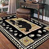 Rug Empire Take the Lead Black Bear Rustic Lodge Area Rug - 26