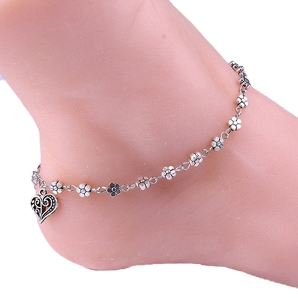 Afco Women Retro Alloy Flower Bead Chain Anklet Barefoot Sandal Beach Ankle Bracelet Summer Beach Jewelry