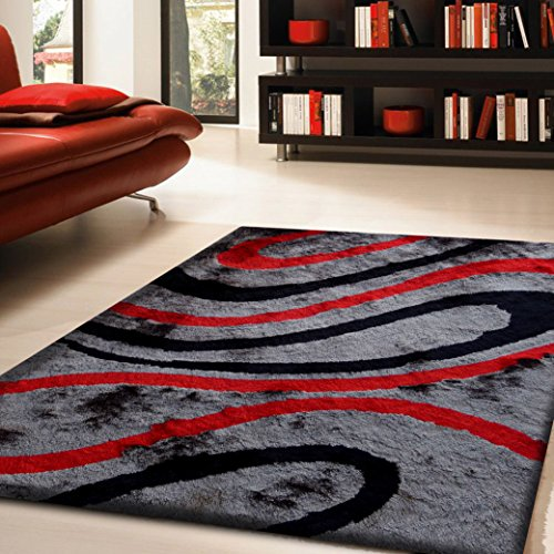 ON SALE! Luxurious Superior Quality Area Shag Rug, Hand Tufted , Contemporary Design, Dim Grey, Black, Cadmium Red, Hand Carved, Soft and Fuzzy Rug, ~ 2 x 3 ~ ft ON SALE! (Shag Rugs On Sale)
