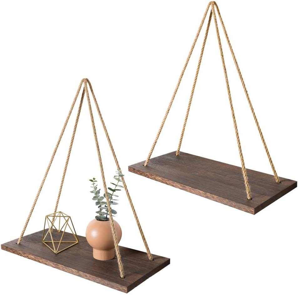 Mkono Wood Wall Floating Shelf Rustic Hanging Swing Rope Shelves, Set of 2 Wall Display Shelves Home Organizer Boho Decor Shelves for Living Room Bedroom Bathroom Kitchen