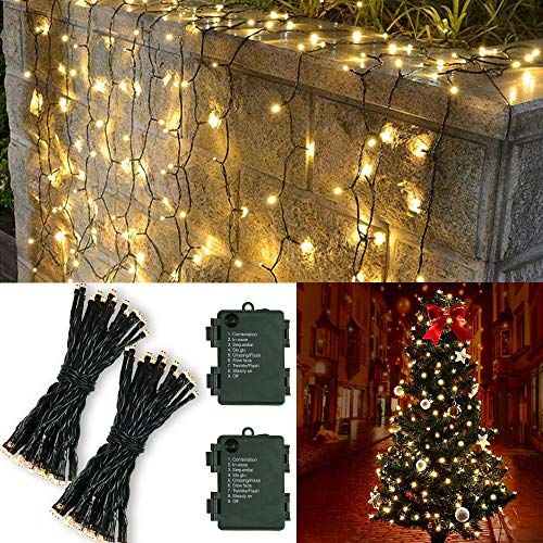 Leideur Christmas Lights, Battery Operated String Lights 50 LED 8 Modes Waterproof Outdoor Mini String Lights for Patio Christmas Tree Garden Holiday Indoor Decoration 17.78ft, 2 Pack, Warm White