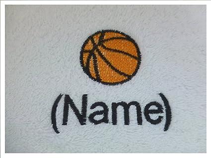 Albornoz con capucha infantil con un baloncesto Logo y nombre de tu elección, edad 4