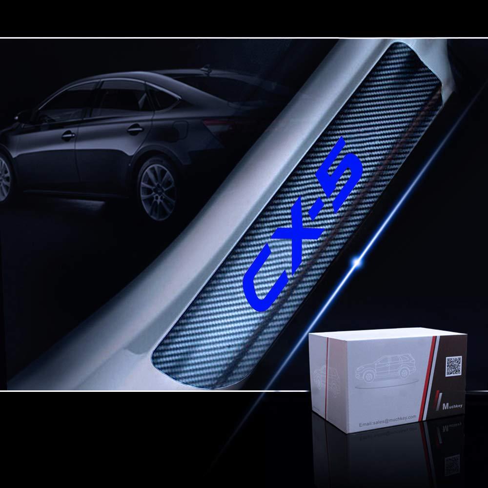 for Mazda CX-5 Door Sill Protector Reflective 4D Carbon Fiber Sticker Door Entry Guard Door Sill Scuff Plate Stickers Auto Accessories 4Pcs Red