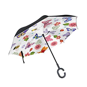 jstel doble capa Inverted Butterfly Dragonfly abejas paraguas coches Reverse resistente al viento lluvia paraguas para