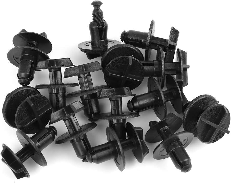 Sourcingmap 30pcs Black Plastic Rivet Bumper Fender Fastener Clip for Car