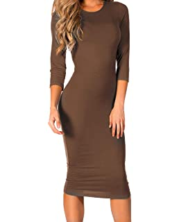 797ded906b ICONOFLASH Women's 3/4 Sleeve Bodycon Midi Dress - Crew Neck Fitted Dress  with Plus