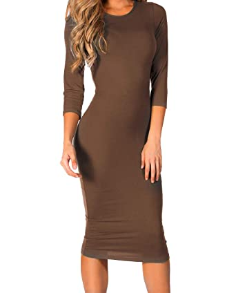 dda78910e1a12 ICONOFLASH Women's 3/4 Sleeve Bodycon Midi Dress Crew Neck Fitted Dresses  with Plus Size Options
