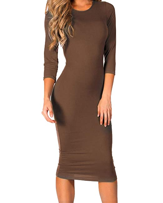 ce18b79937b4c ICONOFLASH Women's Mocha 3/4 Sleeve Bodycon Midi Dress - Crew Neck Fitted  Dress Size