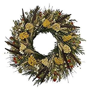 VanCortlandt Farms Handmade Fall Flowers & Feathers Wreath 12