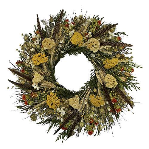 VanCortlandt Farms Handmade Fall Flowers & Feathers Wreath - Pheasant Feather Wreaths