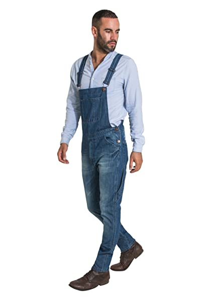 kid enjoy discount price official store Uskees Toby Slim Fit Mens Dungarees - Vintage Wash Fashion Bib Overalls  TOBY2VINTAGE