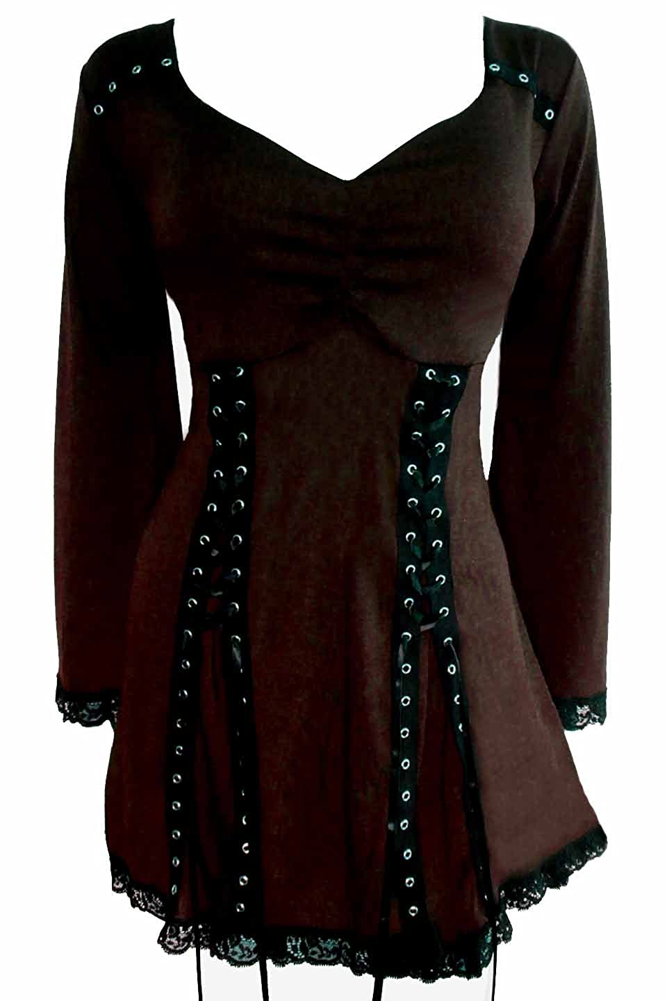 Steampunk Tops | Blouses, Shirts Dare to Wear Electra Corset Top: Gothic Punk Rock Steampunk Womens Tunic Shirt for Everyday Halloween Cosplay Concerts $59.99 AT vintagedancer.com