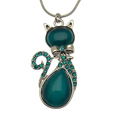 Acosta - Vibrant Teal Cat's Eye Stone & Swarovski Crystal - Cat Necklace (Silver Tone) - Gift Boxed