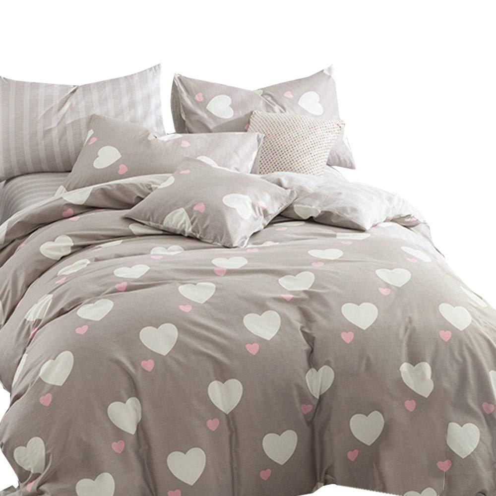 EnjoyBridal Teens Kids Bedding Duvet Cover Sets Twin Girls Boys Brown Cotton Heart-Shaped Comforter Duvet Cover Sets 2pc Pillow Shams, No Comforter (Twin, Heart-Shaped)