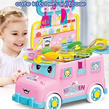 e11e7c784e10 Per Newly Play Food Set Pretend Play Mini Bus Kitchen Playsets Children s  Play House Kitchen Tableware