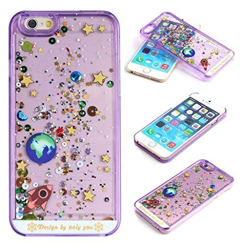 Yoption Liquid Case for iPhone 6 6s 4.7,Starry Sky Transparent Plastic 3D Glitter Creative Design Flowing Floating Glitter Sparkle Universe of Stars Hard Case Cover for iPhone 6 6s 4.7(Purple)