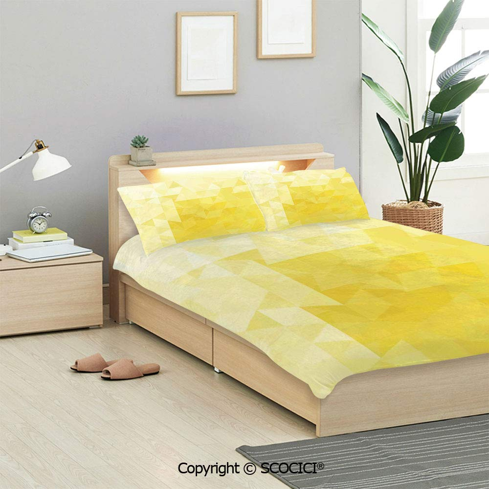 Buy SCOCICI Yellow Bedding Sets (1 Duvet Cover 2 Pillow Shams) Simple  Triangle Shaded Wavy Retro Mosaic Motifs Poly Gradient Illustration Home  Artprint Decorative Duvet Cover Sets Kids/Twin/Single Online at Low Prices
