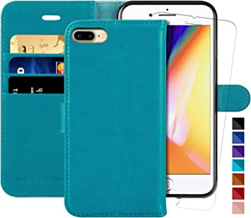TPU Interior Case iPhone 7 Plus Case Compatible with iPhone 8 Plus TUCCH 3 Credit Card Holders and 1 Money Slot Wallet Case with Kickstand iPhone 8 Plus Leather Case Blue Folio Flip Cover