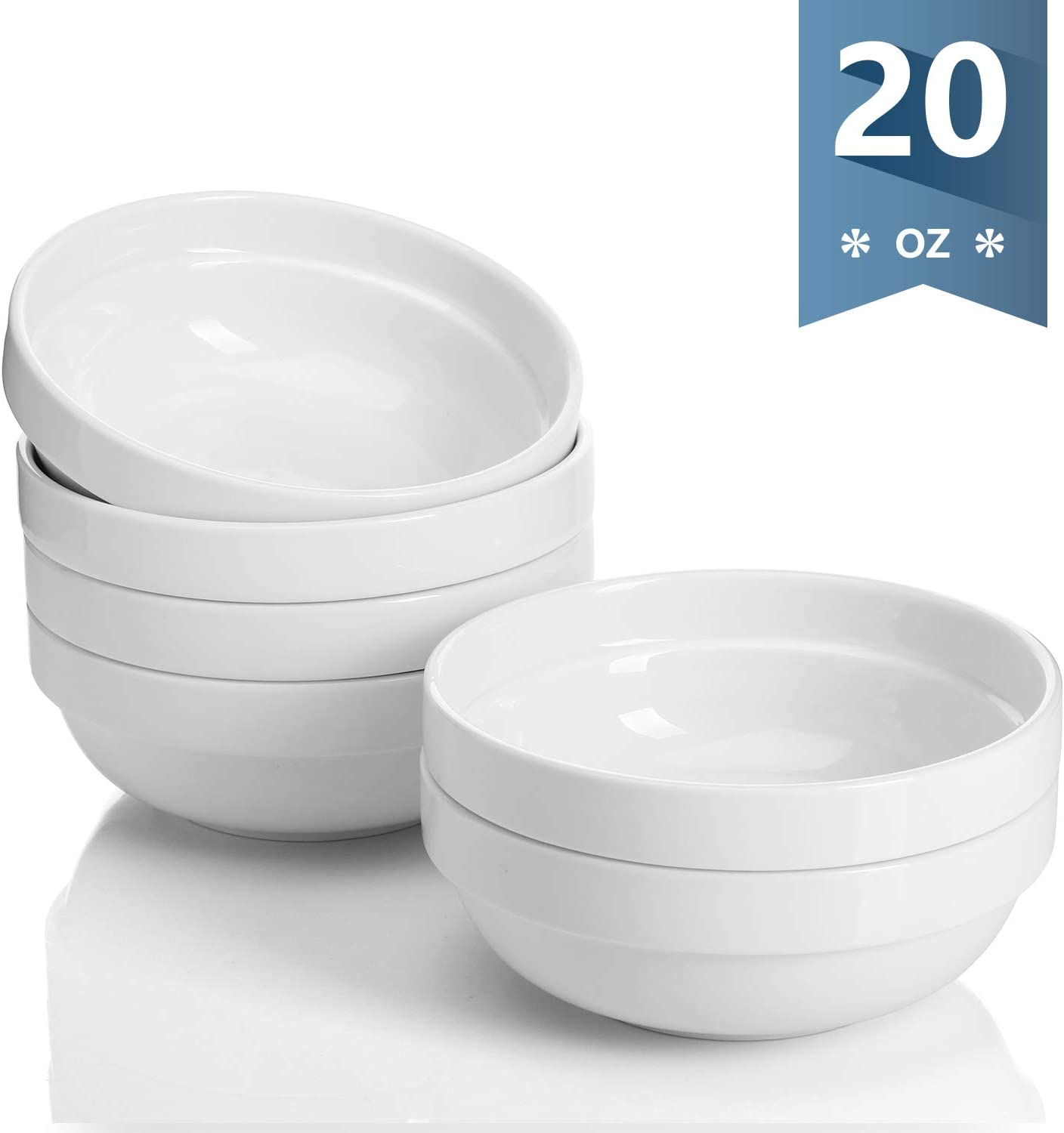 Sweese 119.001 Porcelain Stackable Bowls - 20 Ounce for Cereal, Salad - Set of 6, White