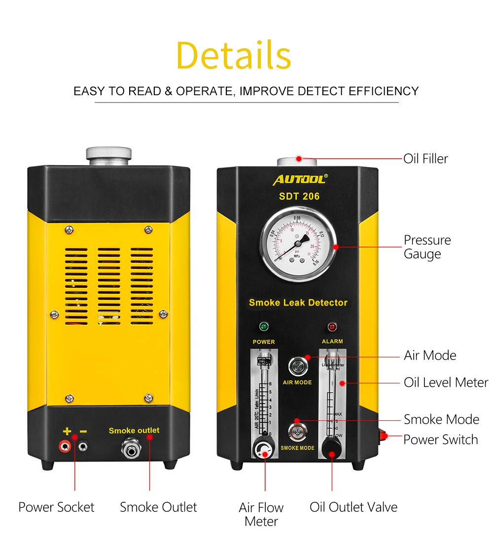 Newest Dual Modes AUTOOL 1 SDT-206 Automotive EVAP Leaks Testing Machine 12V Vehicle Pipes Fuel Leakage Detector Diagnositc Tester for Car//Motorcycles//Boat