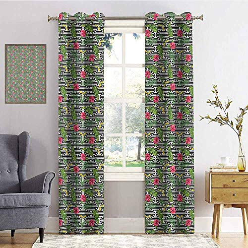 hengshu Banana Leaf Wear-Resistant Color Curtain Black and White Geometrical Backdrop with Hibiscus and Birds of Paradise Flower 2 Panel Sets W96 x L96 Inch Multicolor