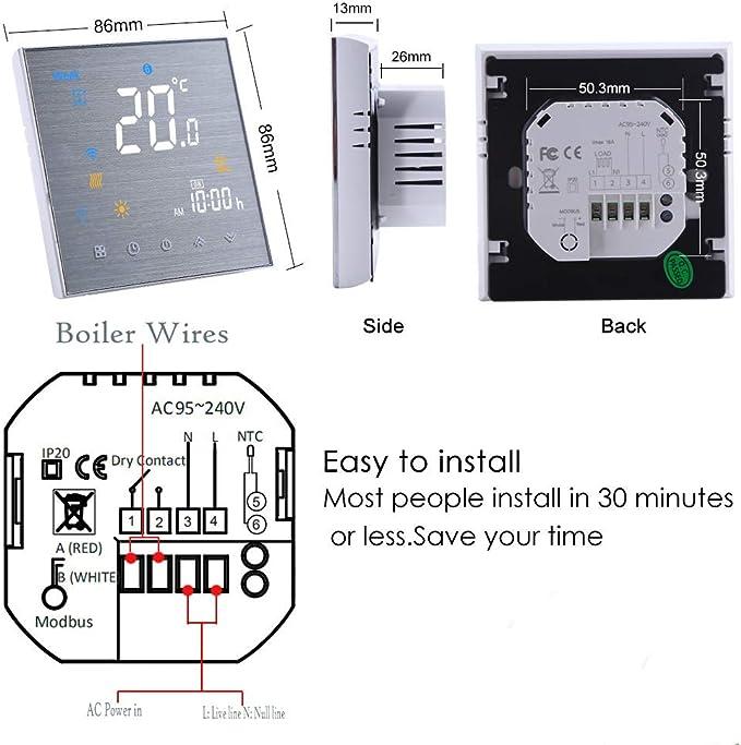 Lechnical Termostato Inteligente WiFi Controlador de Temperatura Pantalla LCD Semana programable para Caldera de Agua//Gas Control de la aplicaci/ón Tuya Compatible con Alexa Google Home