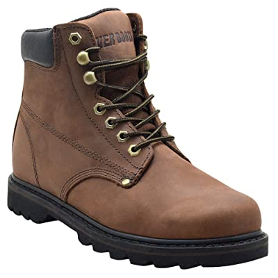 """EVER BOOTS """"Tank Men's Soft Toe Oil Full Grain Leather Work Boots Construction Rubber Sole 