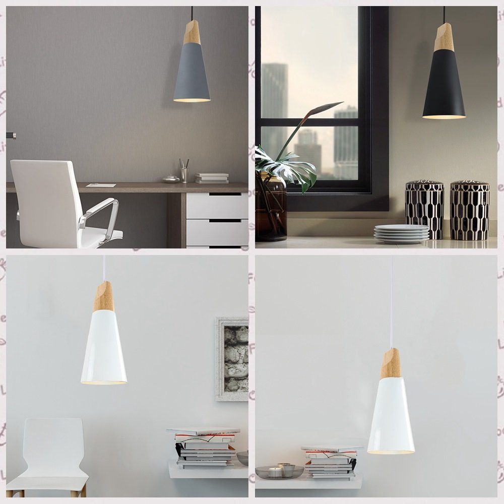 Iron Mini Chandelier, Postmodern LED Wood Dining Room Cafe Study Ceiling Lamp Nordic Aluminum Cafe Bedroom Small Pendant Light, Black, Gray, White ( Color : Yellow ) by HOIHO (Image #3)