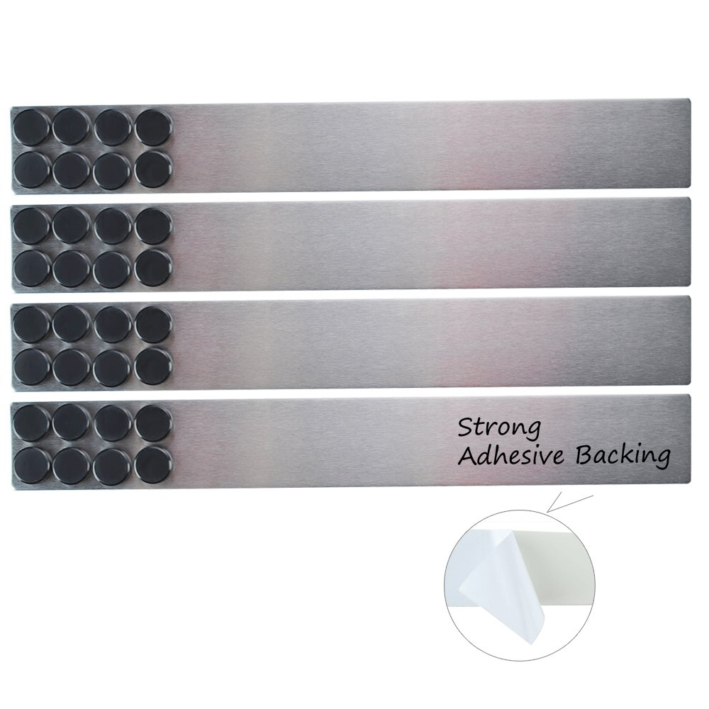 Lockways Magnetic Whiteboard Strip Set– 4 piceses 2 x 15 Inch Bulletin Board bar, Silver Stainless, Strong Adhesive Backing Memo Board for Office, Magnetic Calendar, Photos, Name Cards & Papers