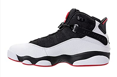 6879514dff834f Nike Mens Jordan 6 Rings Black White-Red Leather Size 8