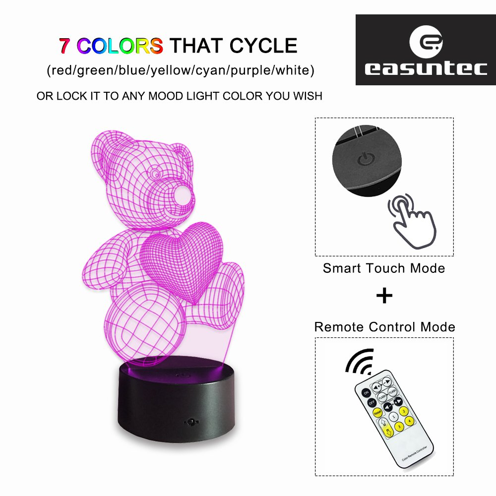 Night Lights for Kids Teddy Bear 7 Colors Change with Remote 3D Night Light Help Kids Fell Safe at Night or Gifts for Women or Girls by Easuntec (Teddy Bear Heart)