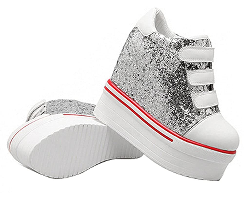 Ladola Womens Wedges Platform Hook-and-Loop Round-Toe Casual High-Heel Urethane Walking Shoes