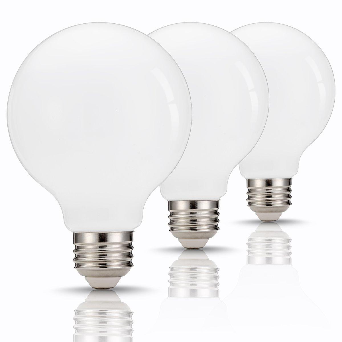 TGMOLD G25 Globe LED Bulb 60W Equivalent, 9W, Base E26/E27, Daylight 4000K Vanity Light Bulb for Makeup, Living Room, (800LM) Non Dimmable Decorative Light, Pack of 3