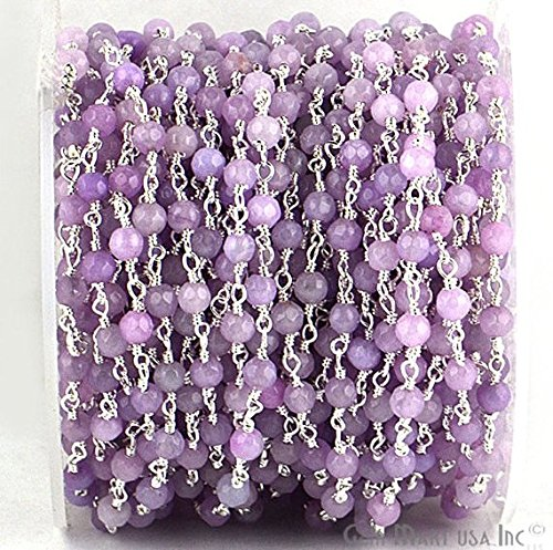 Wholesale 3 Feet Beautiful Light Lavender Jade, 4mm Silver Plated wire wrapped Rosary Chain by foot. -