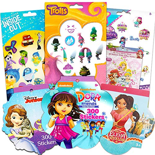 Disney Stickers and Temporary Tattoos for Girls Toddlers Kids Ultimate Set ~ Bundle Includes 225 Tattoos and 960 Stickers Featuring Dora The Explorer, Trolls, Sofia The First, and More (Party Pack) -