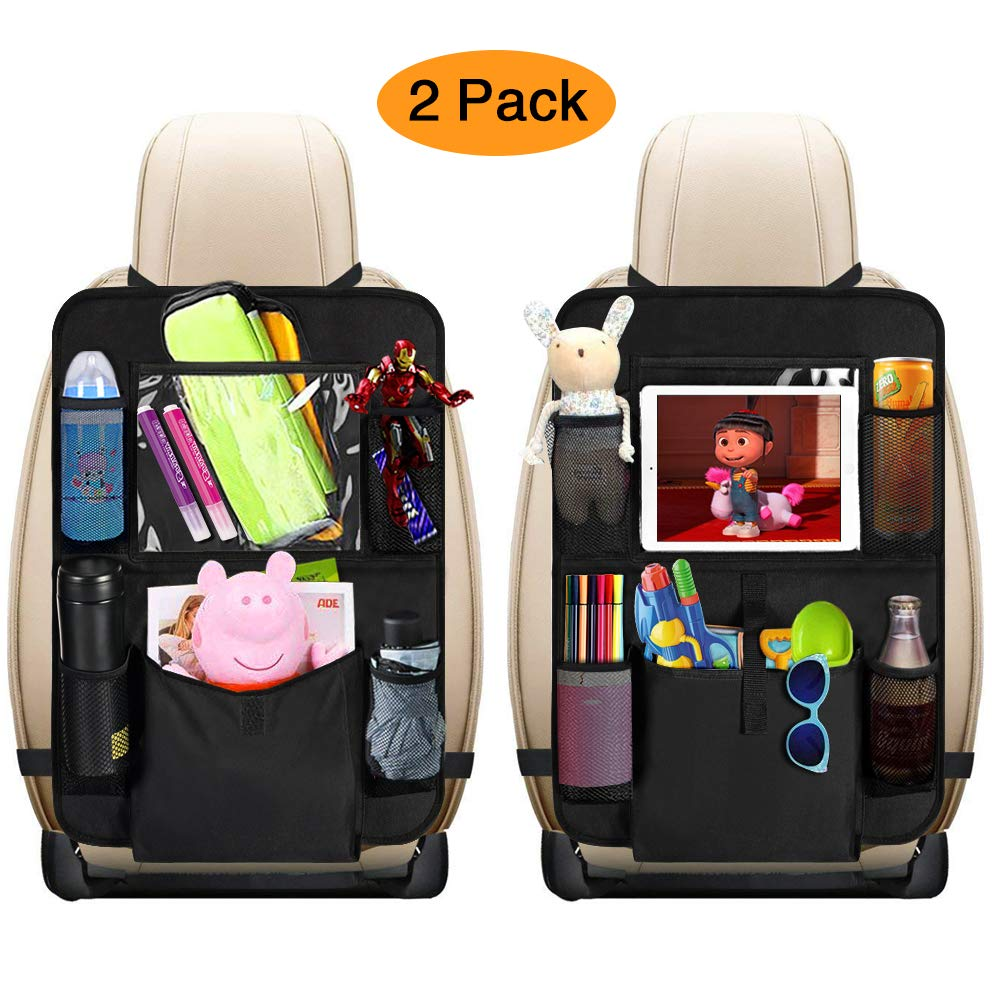 mixigoo Car Back Seat Organizer Kids Car Organizers Covers Protectors with 10 Touch Screen Tablet Holder Large Storage Pockets Kick Mats for Toy Cartoon Journey Travel Accessories Large Pocket