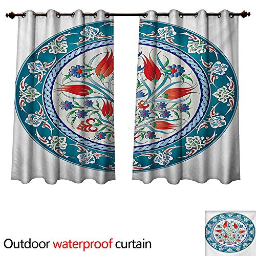 Tulip Frame Chrome (WilliamsDecor Tulip Outdoor Ultraviolet Protective Curtains Historical Traditional Medieval Turkish Ornate Tulip Flowers Round Frame Print W72 x L72(183cm x 183cm))