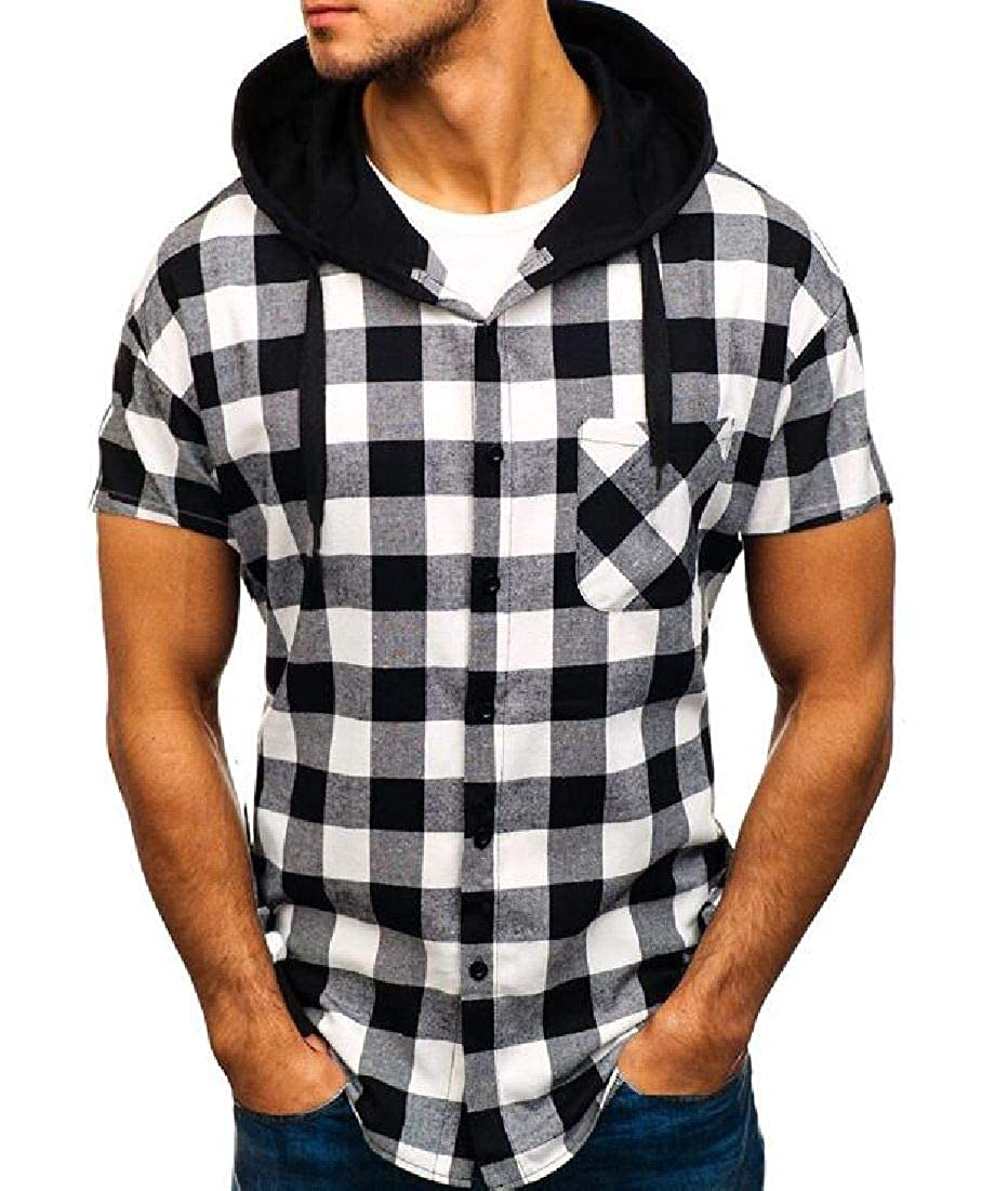 Rrive Men Casual Checked Short Sleeve Hooded Summer Button Up Shirt with Pocket