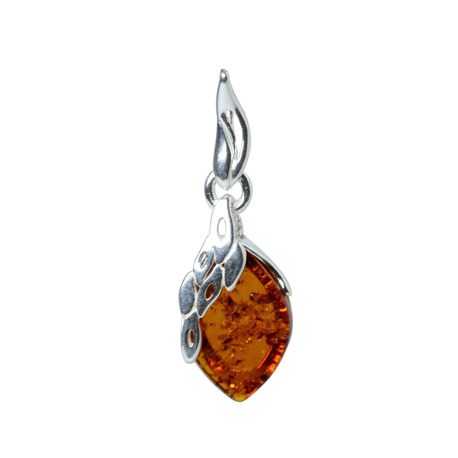 HolidayGiftShops Sterling Silver and Baltic Honey Amber Pendant Maryann