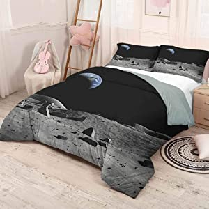 HELLOLEON (Queen) Moon Extra Large Quilt Cover Earth Seen from The Moon Space Debris Vast Universe Day and Night Cycle Photography Can be Used as a Quilt Cover-Lightweight Black Grey