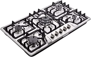 Hotfield HF825-SA03 34 inch Gas Cooktop Dual Fuel Sealed 5 Burners Stainless Steel Drop-In Gas Stove Gas Cooker