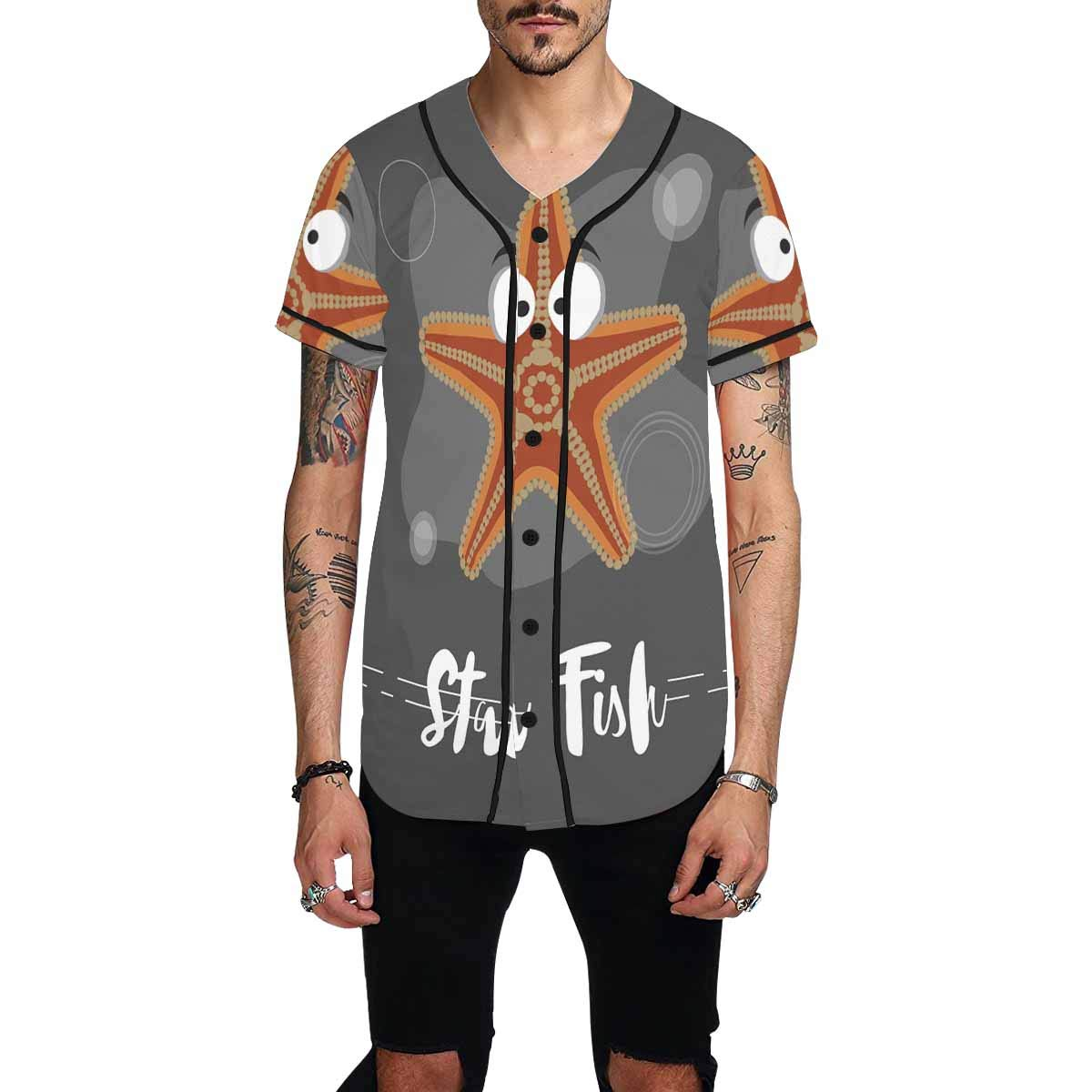 InterestPrint Mens Baseball Jersey T-Shirts Plain Button Down Sports Tee