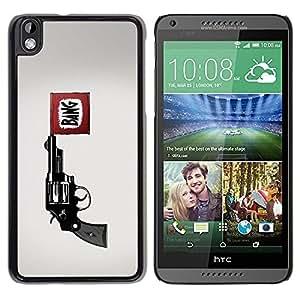 Be Good Phone Accessory // Dura Cáscara cubierta Protectora Caso Carcasa Funda de Protección para HTC DESIRE 816 // Bang Pistol Gun